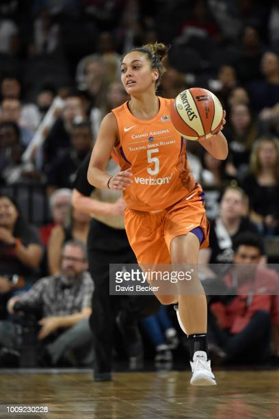 Leilani Mitchell of the Phoenix Mercury handles the ball against the Las Vegas Aces on August 1 2018 at the Mandalay Bay Events Center in Las Vegas...