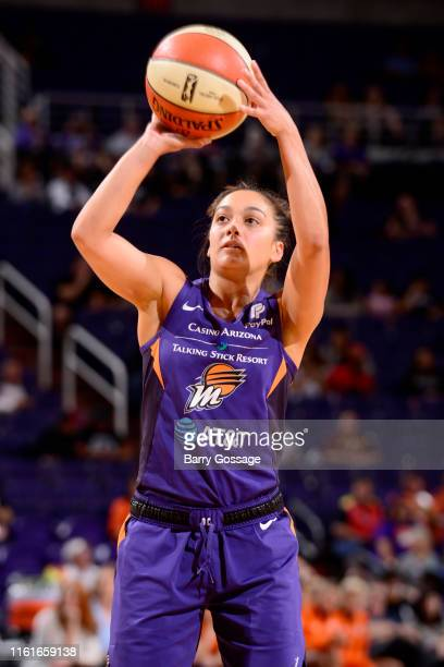 Leilani Mitchell of the Phoenix Mercury shoots a free throw against the Connecticut Sun on August 14 2019 at Talking Stick Resort Arena in Phoenix...