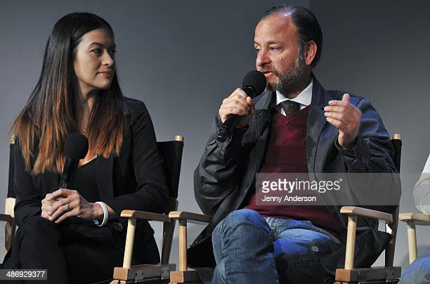 Leilani Munter and Fisher Stevens discuss the documentary 6 at the Apple Store Soho on April 26 2014 in New York City