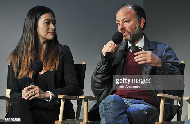 Leilani Munter and Fisher Stevens discuss the environmental documentary 6 at the Apple Store Soho on April 26 2014 in New York City