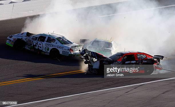 Leilani Munter and Steve Blackburn crash during the ARCA Racing Series Lucas Oil Slick Mist 200 at Daytona International Speedway on February 6 2010...