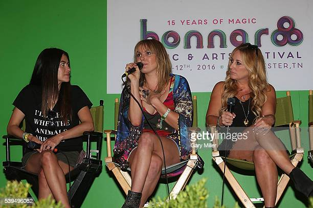 Leilani Munter Grace Potter and Lee Ann Womack speak during the Saturday press conference on the third day of the Bonnaroo Music and Arts Festival on...