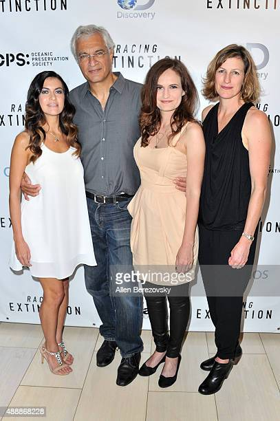 Leilani Munter Louis Psihoyos Gina Papabeis and Olivia Ahnemann attend the Premiere of Discovery Channel's Racing Extinction at The London West...