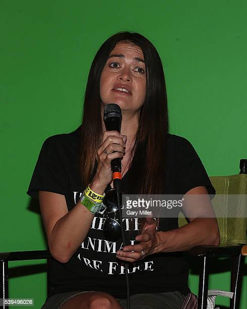 Leilani Munter speaks during the Saturday press conference on the third day of the Bonnaroo Music and Arts Festival on June 11 2016 in Manchester...