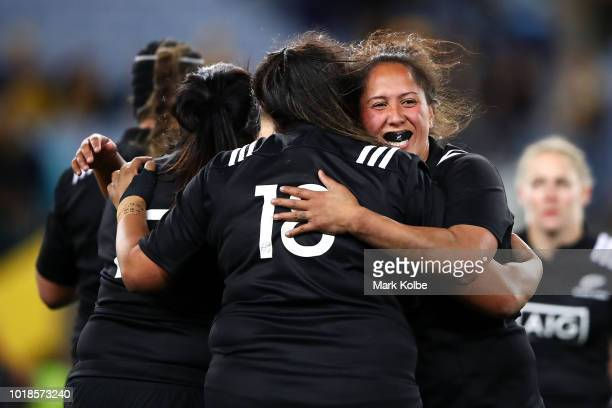 Leilani Perese and Aroha Savage of the Black Ferns celebrate victory during the Women's Rugby International match between the Australian Wallaroos...