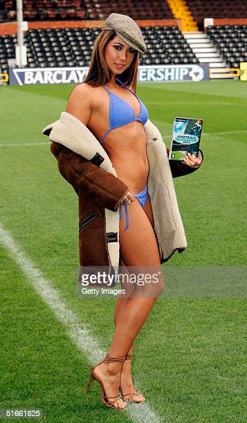 Leilani poses in football manager sheepskin coats stripping down to reveal bikinis to launch new computer game SEGA Football Manager 05 at Craven...
