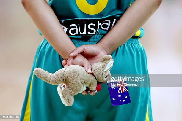 Leilani Seemah Mitchell of Australia holds a gift to present to Argentina before their game during the International Womens Basketball Tournament...