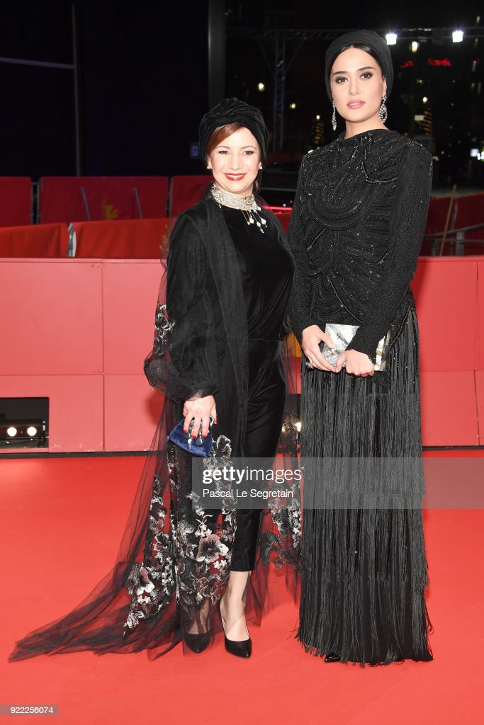 Leili Rashidi and Parinaz Izadyar attend the 'Pig' (Khook) premiere during the 68th Berlinale International Film Festival Berlin at Berlinale Palast on February 21, 2018 in Berlin, Germany.