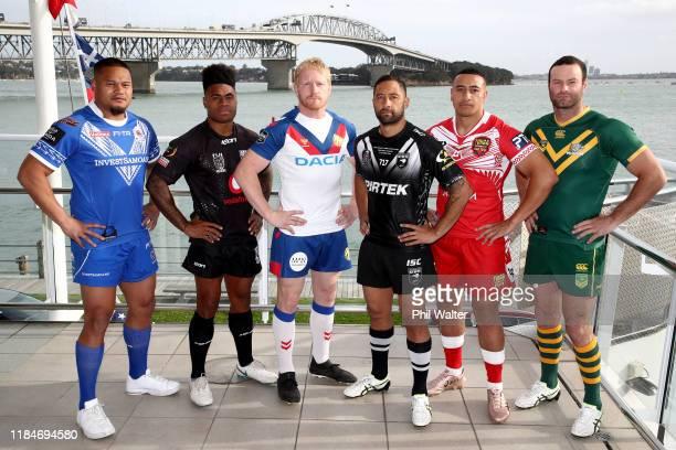 Leilua of Samoa, Kevin Naiqama of Fiji, James Graham of Great Britain, Benji Marshall of New Zealand, Sio Siua TaukeIaho of Tonga and Boyd Cordner of...