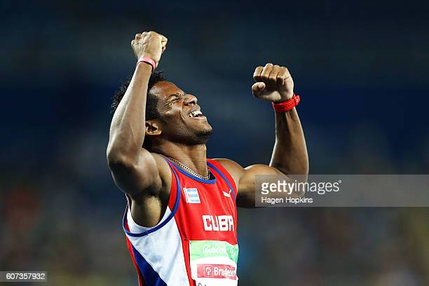 Leinier Savon Pineda of Cuba celebrates after winning the Men's 200m T12 final on day 10 of the Rio 2016 Paralympic Games at Pontal on September 17...