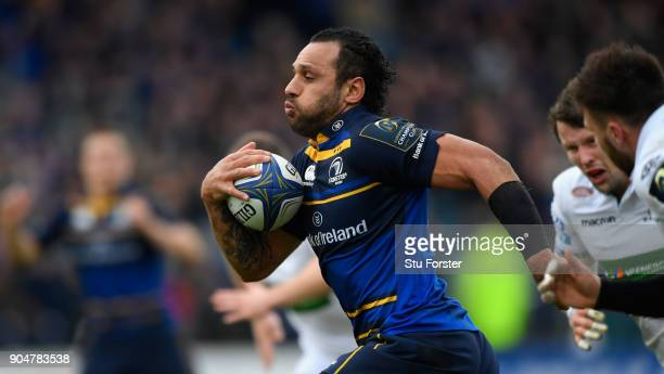 Leinster captain Isa Nacewa breaks to score the second Leinster try during the European Rugby Champions Cup match between Leinster Rugby and Glasgow...