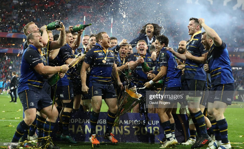 Leinster celebrate their victory during the European Rugby Champions Cup Final match between Leinster Rugby and Racing 92 at San Mames Stadium on May 12, 2018 in Bilbao, Spain.