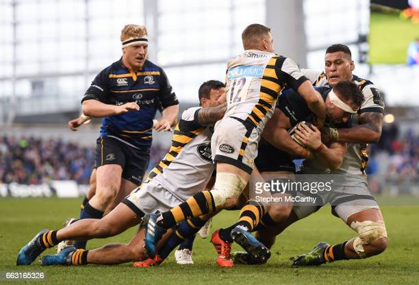 Leinster Ireland 1 April 2017 Jack Conan of Leinster is tackled by Wasps players from left Alapati Leiua Jimmy Gopperth and Nathan Hughes during the...