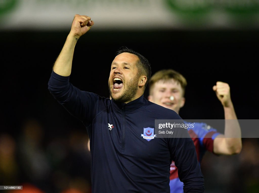 Leinster , Ireland - 10 August 2018; Drogheda United manager Tim Clancy celebrates following his side's victory during the Irish Daily Mail FAI Cup First Round match between Drogheda United v Shamrock Rovers at United Park, in Drogheda.
