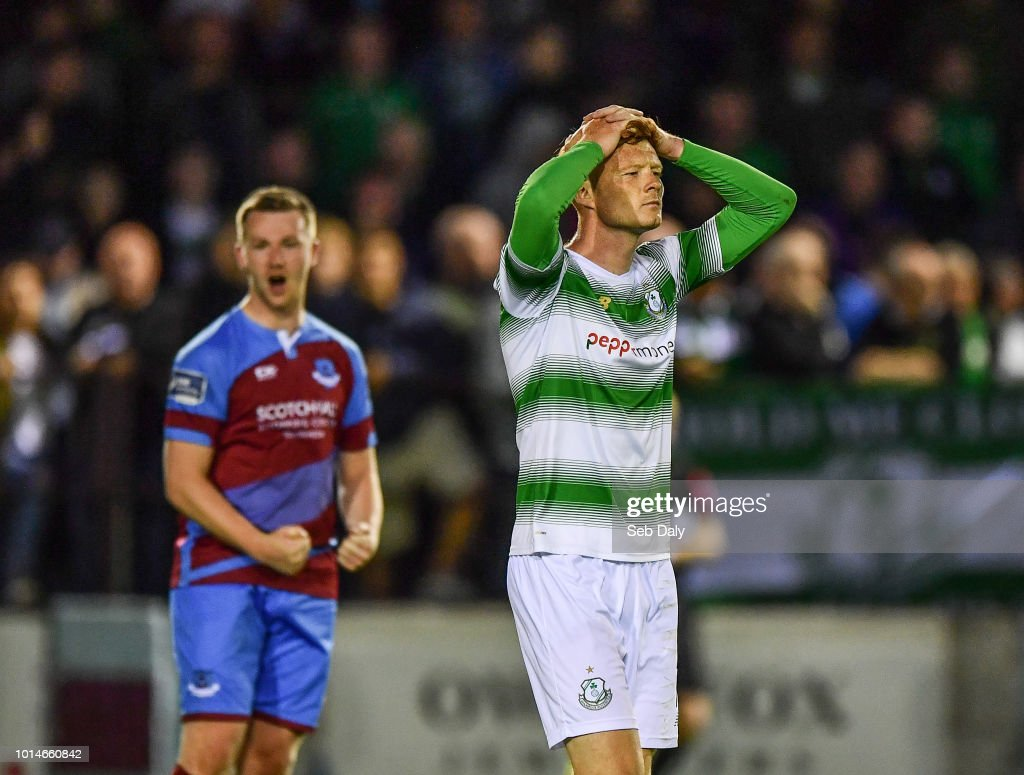 Leinster , Ireland - 10 August 2018; Gary Shaw of Shamrock Rovers reacts at the final whistle following his side's defeat during the Irish Daily Mail FAI Cup First Round match between Drogheda United v Shamrock Rovers at United Park, in Drogheda.