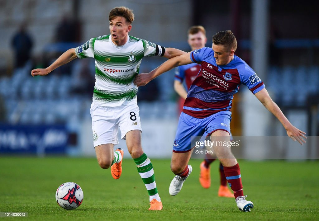 Leinster , Ireland - 10 August 2018; Ronan Finn of Shamrock Rovers in action agaisnt Richie Purdy of Drogheda United during the Irish Daily Mail FAI Cup First Round match between Drogheda United v Shamrock Rovers at United Park, in Drogheda.