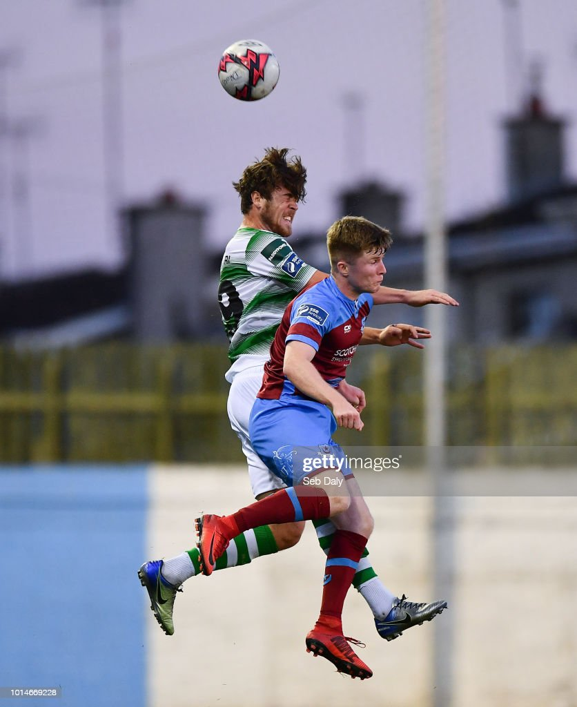 Leinster , Ireland - 10 August 2018; Sam Bone of Shamrock Rovers in action against Conor Kane of Drogheda United during the Irish Daily Mail FAI Cup First Round match between Drogheda United v Shamrock Rovers at United Park, in Drogheda.