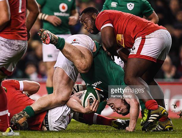 Leinster Ireland 12 November 2016 Cian Healy of Ireland is tackled by Djustice Sears of Canada during the Autumn International match between Ireland...