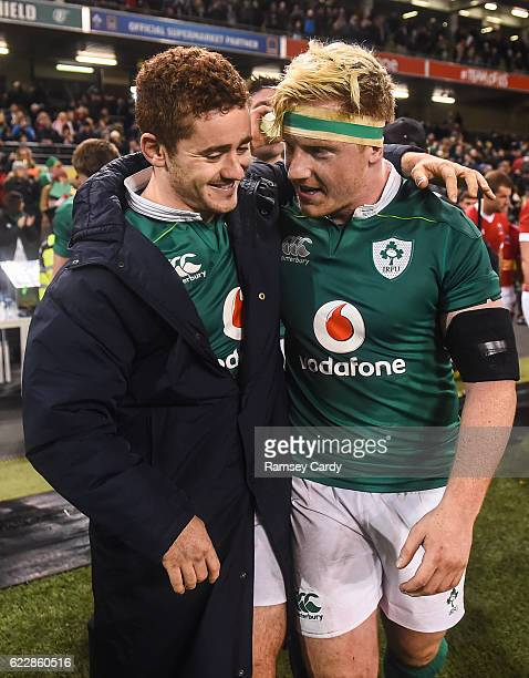 Leinster Ireland 12 November 2016 Ireland's Paddy Jackson left and James Tracy following their victory in the Autumn International match between...