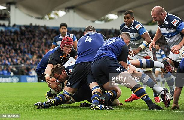 Leinster Ireland 15 October 2016 Anthony Jelonch of Castres goes over to score his side's second try during the European Rugby Champions Cup Pool 4...