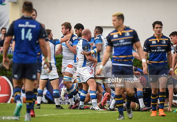 Leinster Ireland 15 October 2016 Anthony Jelonch second from left of Castres is congratulated after scoring his side's second try during the European...