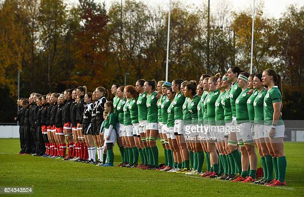 Leinster Ireland 19 November 2016 The Ireland players stand for the national anthem before the Women's Autumn International match between Ireland and...