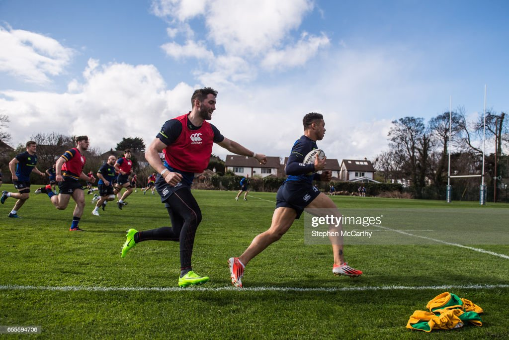 Leinster , Ireland - 20 March 2017; Adam Byrne, right, and Barry Daly of Leinster during squad training at UCD in Dublin.