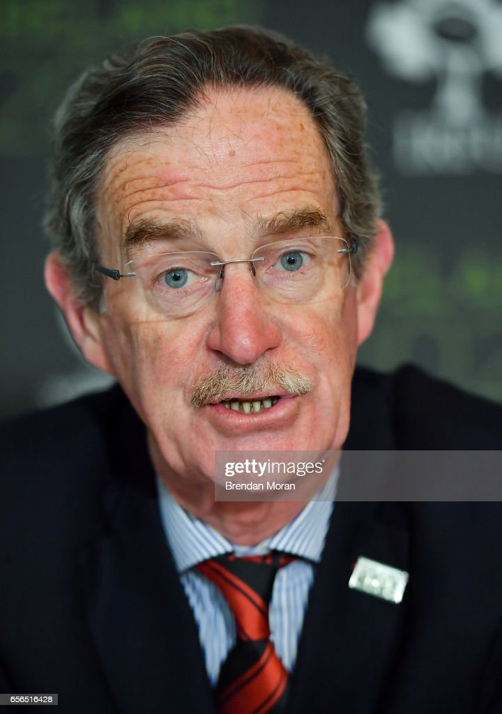 Leinster , Ireland - 22 March 2017; Ireland 2023 Oversight Board member Dick Spring in attendance at an Ireland 2023 Rugby World Cup Media Conference at the Merrion Hotel in Dublin following a two day visit by the World Rugby Technical Review Group visit as part of Ireand's bid to host the 2023 Rugby World Cup.