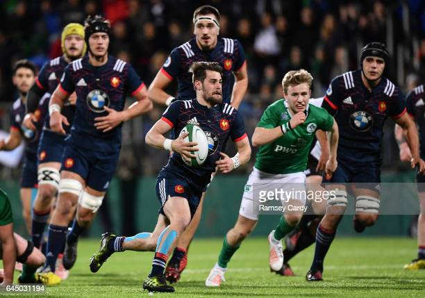 Leinster Ireland 24 February 2017 Arthur Retiere of France breaks through the Ireland defence to set up his side's first try during the RBS U20 Six...