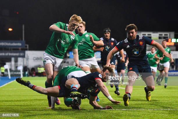 Leinster Ireland 24 February 2017 Arthur Retiere of France in action during the RBS U20 Six Nations Rugby Championship match between Ireland and...
