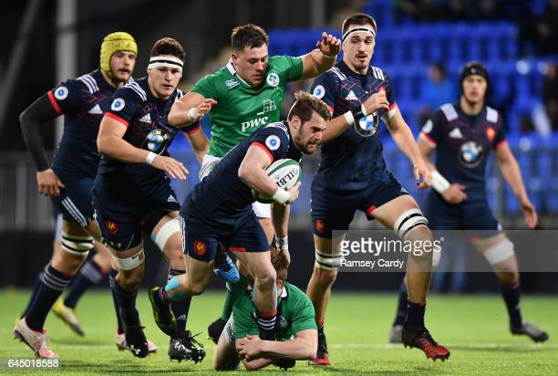 Leinster Ireland 24 February 2017 Arthur Retiere of France is tackled by Jonny Stewart of Ireland during the RBS U20 Six Nations Rugby Championship...