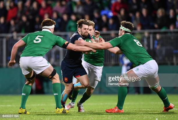 Leinster Ireland 24 February 2017 Arthur Retiere of France is tackled by Oisin Dowling left and Caelan Doris of Ireland during the RBS U20 Six...