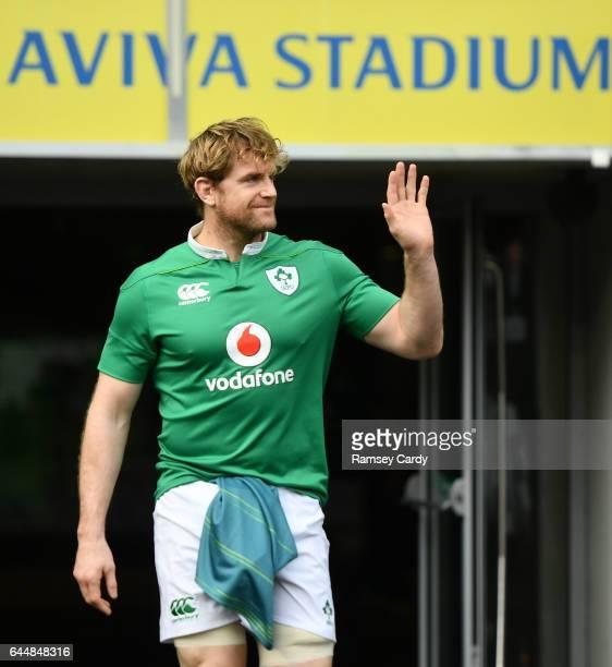 Leinster Ireland 24 February 2017 Jamie Heaslip of Ireland ahead of the captain's run at the Aviva Stadium in Dublin