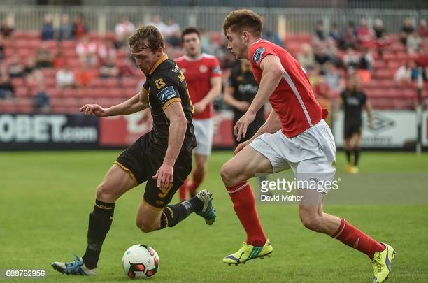 Leinster Ireland 26 May 2017 David McMillan of Dundalk in action against Rory Feely of St Patrick's Athletic during the SSE Airtricity League Premier...
