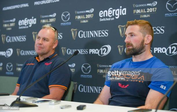Leinster Ireland 26 May 2017 Scarlets head coach Wayne Pivac and John Barclay of Scarlets during the Guinness PRO12 Final Press Conference at the...