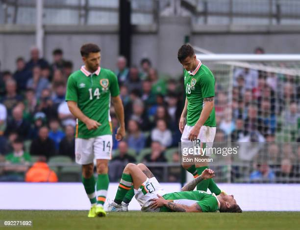 Leinster Ireland 4 May 2017 Jeff Hendrick of Republic of Ireland after being tackled during the international friendly match between Republic of...