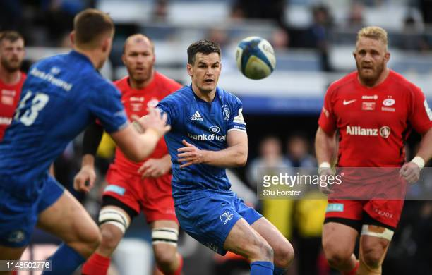 Leinster player Jonathan Sexton passes the ball during the Champions Cup Final match between Saracens and Leinster at St. James Park on May 11, 2019...