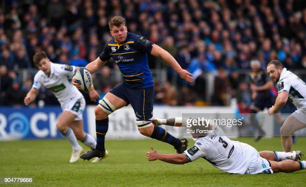 Leinster player Jordi Murphy breaks to scotre the opening try during the European Rugby Champions Cup match between Leinster Rugby and Glasgow...