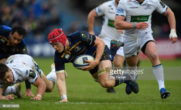Leinster player Josh Van der Flier in action during the European Rugby Champions Cup match between Leinster Rugby and Glasgow Warriors at RDS Arena...