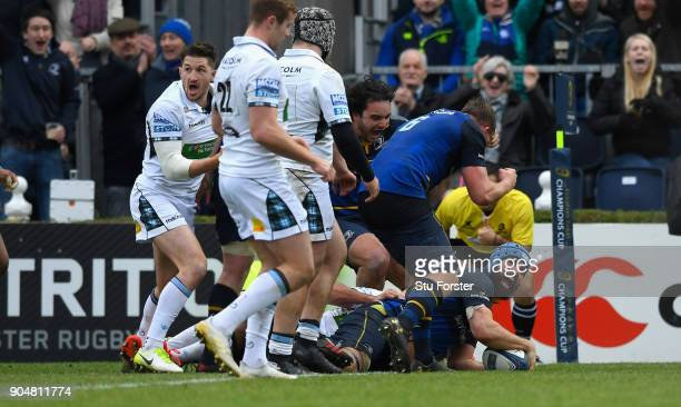 Leinster player Scott Fardy crashes over for his second try during the European Rugby Champions Cup match between Leinster Rugby and Glasgow Warriors...