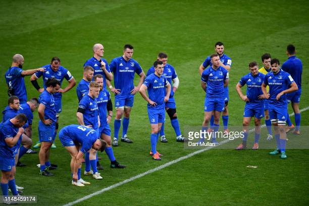 Leinster players look dejected after the Champions Cup Final match between Saracens and Leinster at St James Park on May 11 2019 in Newcastle upon...