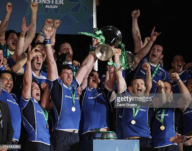 Leinster receive the trophy after defeating Northampton in the Heineken Cup Final match between Leinster and Northampton Saints at the Millennium...