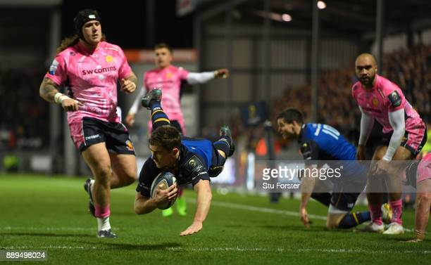 Leinster scrum half Luke McGrath dives over the line but the try is over turned during the European Rugby Champions Cup match between Exeter Chiefs...