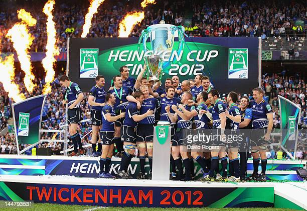 Leinster team celebrate victory following the Heineken Cup Final between Leinster and Ulster at Twickenham Stadium on May 19 2012 in London United...