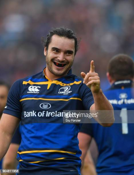 Leinster wing James Lowe celebrates after the fifth Leinster try during the European Rugby Champions Cup match between Leinster Rugby and Glasgow...