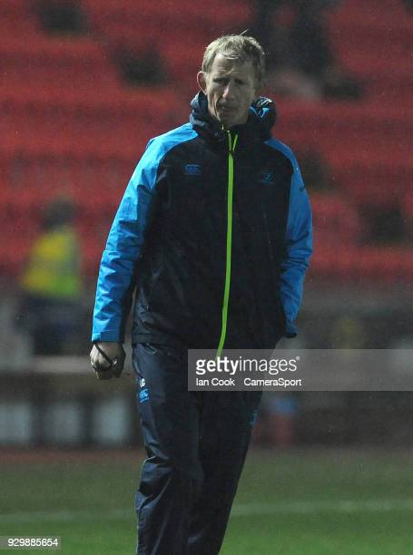 Leinster's Head Coach Leo Cullen during the pre match warm up during the Guinness Pro14 Round 17 match between Scarlets and Leinster Rugby at Parc y...