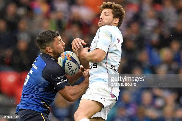 Leinster's Irish fullback Rob Kearney challenges Racing 92's French scrumhalf Teddy Iribaren during the 2018 European Champions Cup final rugby union...