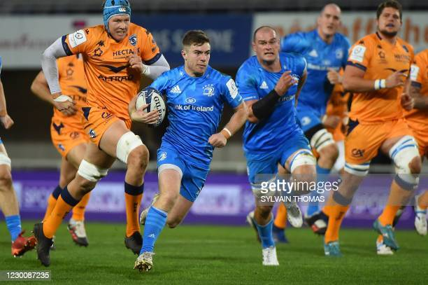 Leinster's Irish scrum-half Luke McGrathruns with the ball during the European Rugby Champions Cup rugby union Group A match between Montpellier and...
