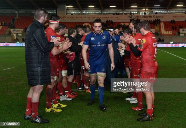 Leinster's Jack Conan looks dejected as he walks off the field after Scarlets win a penalty in the dying moments of the game to earn a draw during...
