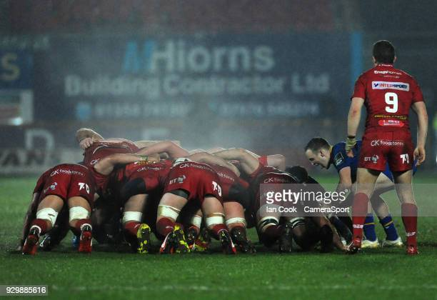 Leinster's Nick McCarthy places the ball into the scrum during the Guinness Pro14 Round 17 match between Scarlets and Leinster Rugby at Parc y...